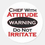 Cocinero con actitud pegatinas redondas