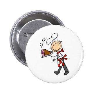 Cocinero con el botón cocido del jamón pin redondo de 2 pulgadas
