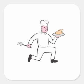 Cocinero con el dibujo animado corriente de la esp calcomania cuadradas personalizadas
