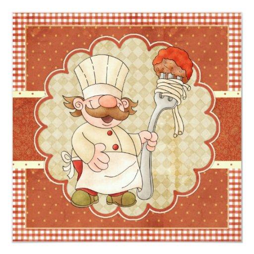 """Cocinero con el fiesta de las pastas de los invitación 5.25"""" x 5.25"""""""