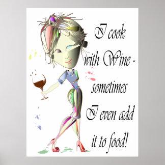Cocinero con el poster divertido del arte del vino