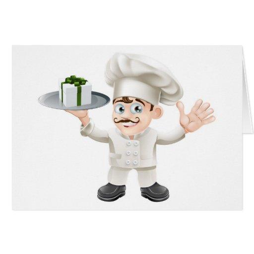 Cocinero con el presente tarjeta de felicitación