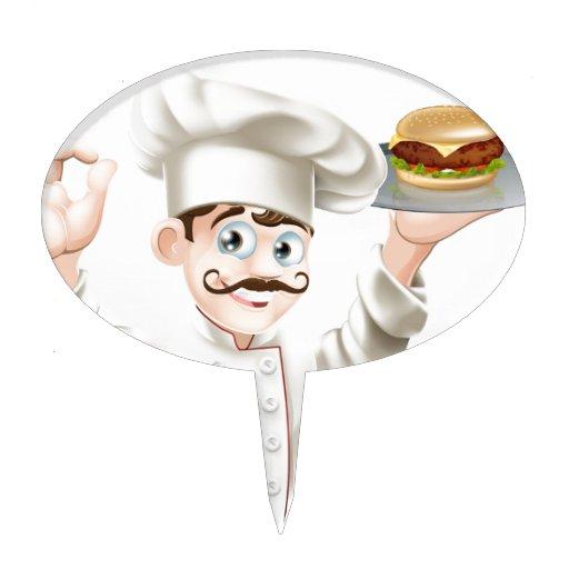 Cocinero con la hamburguesa figura para tarta