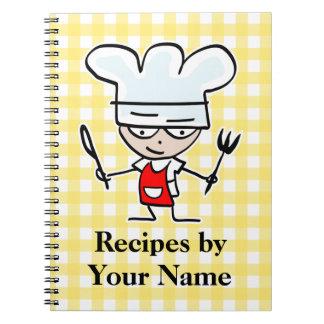 Cocinero conocido personalizado del dibujo animado libro de apuntes