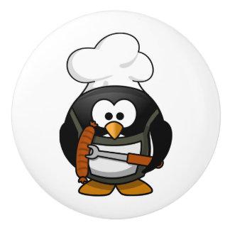 Cocinero de cerámica del botón/del pingüino pomo de cerámica