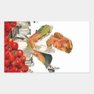 Cocinero de la cocina del casero del vintage del rectangular pegatina