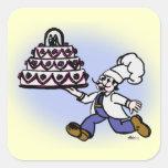 Cocinero de la torta calcomanía cuadradas personalizadas