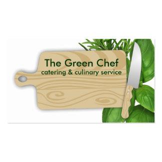 cocinero de las hierbas de la tabla de cortar que tarjetas de visita