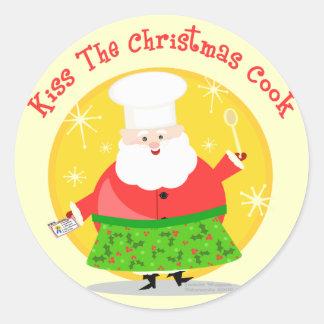 Cocinero de Santa del navidad Pegatina Redonda