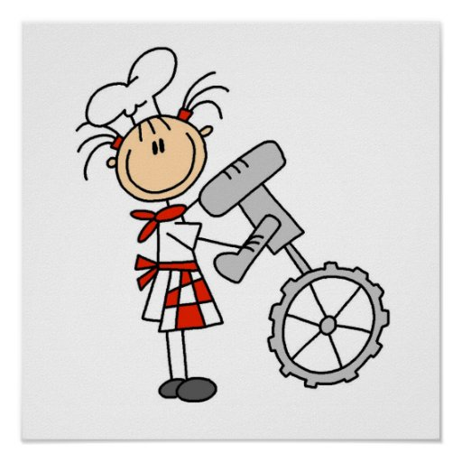 Cocinero de sexo femenino que usa el mezclador poster