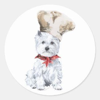 Cocinero de Terrier blanco de montaña del oeste Pegatina Redonda