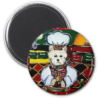 Cocinero de Westie Imán Redondo 5 Cm