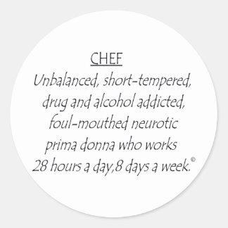 Cocinero definido pegatina redonda