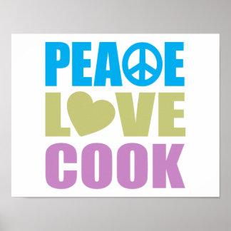 Cocinero del amor de la paz impresiones