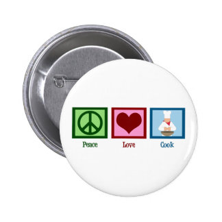 Cocinero del amor de la paz pin redondo 5 cm