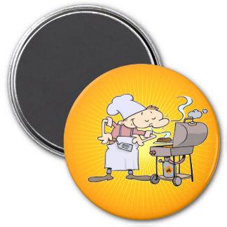 Cocinero del Bbq que asa a la parrilla las hamburg Imán De Nevera