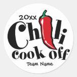 Cocinero del chile apagado etiquetas redondas