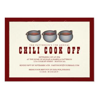 Cocinero del chile del trío del pote del chile de invitaciones personales