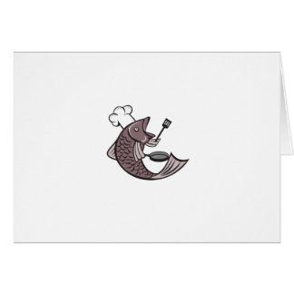 Cocinero del cocinero de los pescados que lleva a tarjeta de felicitación