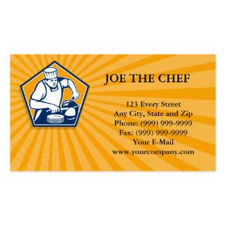 Cocinero del cocinero que corta el jamón retro tarjeta de visita