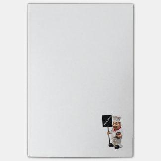 Cocinero del cocinero - tarjeta AGRADABLE del menú Post-it® Nota