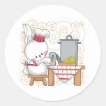 Cocinero del conejo etiquetas redondas