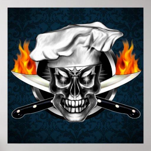 Cocinero del cráneo con el poster llameante de los
