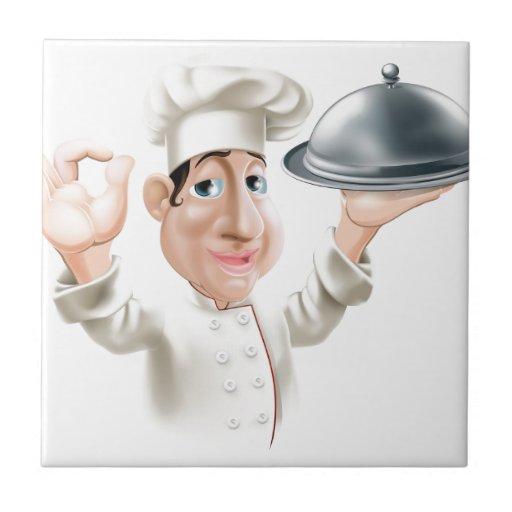 Cocinero del dibujo animado con la bandeja de la p tejas  cerámicas