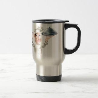 Cocinero del dibujo animado con la bandeja de la p tazas de café