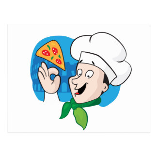 Cocinero del dibujo animado con la pizza postales