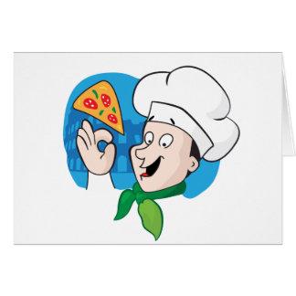 Cocinero del dibujo animado con la pizza tarjeta de felicitación