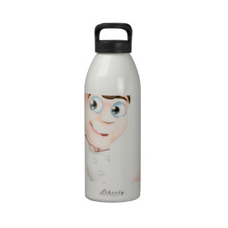 Cocinero del dibujo animado que señala en la muest botella de agua reutilizable