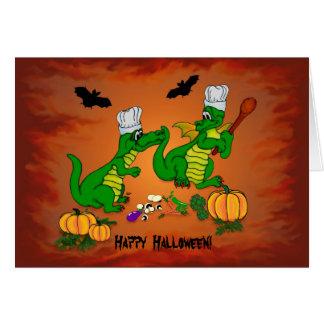 Cocinero del dragón de Halloween, cocinaré hoy Tarjeta De Felicitación