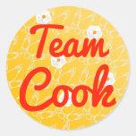 Cocinero del equipo etiquetas redondas