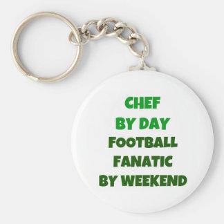 Cocinero del fanático del fútbol del día por fin d llaveros personalizados