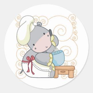 Cocinero del hipopótamo pegatina redonda