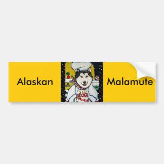 Cocinero del Malamute de Alaska Pegatina Para Auto