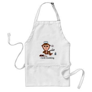 cocinero del mono del mojo, amo el cocinar delantal