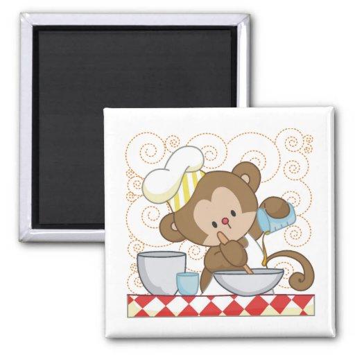 Cocinero del mono imanes para frigoríficos