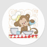 Cocinero del mono pegatina redonda