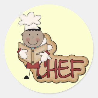 Cocinero del muchacho - camisetas afroamericanas y pegatina redonda
