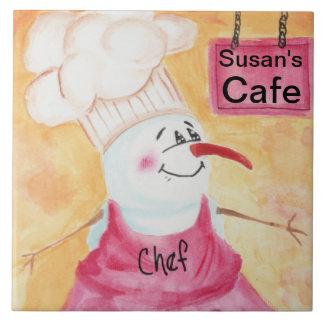 Cocinero del muñeco de nieve en gorra del delantal azulejo cuadrado grande