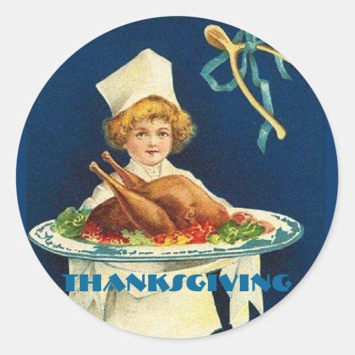 Cocinero del niño de la acción de gracias del pegatinas redondas