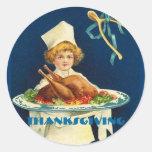 Cocinero del niño de la acción de gracias del vint pegatinas redondas