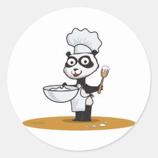 Cocinero del oso de panda pegatinas redondas