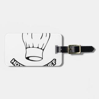 Cocinero del pez gordo etiqueta de maleta