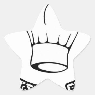 Cocinero del pez gordo pegatina en forma de estrella