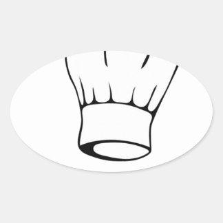 Cocinero del pez gordo pegatina ovalada