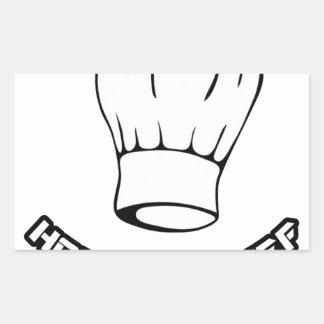 Cocinero del pez gordo pegatina rectangular