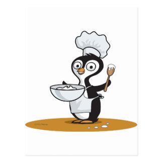 Cocinero del pingüino tarjeta postal